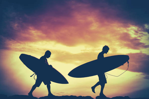 Watersports Photograph - Sunset Surfers by Mr Doomits