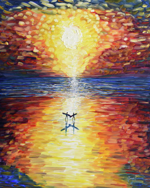 Painting - Sunset Surfers by Pete Caswell