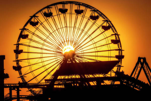 Wall Art - Photograph - Sunset Through Ferris Wheel by Garry Gay