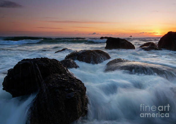 Tidal Photograph - Sunset Tidal Surge by Mike Dawson