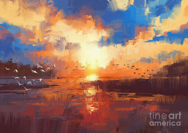 Art Print featuring the painting Sunset by Tithi Luadthong