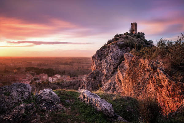 Photograph - Sunset Tower - The Tower Of Caprona Near Pisa At Sunset by Matteo Viviani