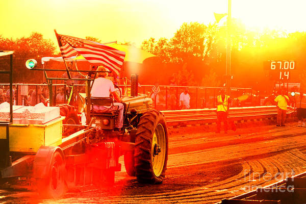Pull Wall Art - Photograph - Sunset Tractor Pull by Olivier Le Queinec