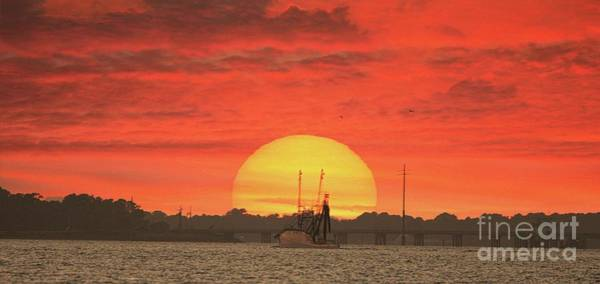 Harker Photograph - Sunset Trawler by Benanne Stiens