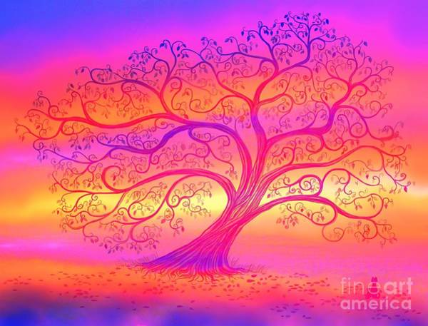 Wall Art - Painting - Sunset Tree Cats by Nick Gustafson