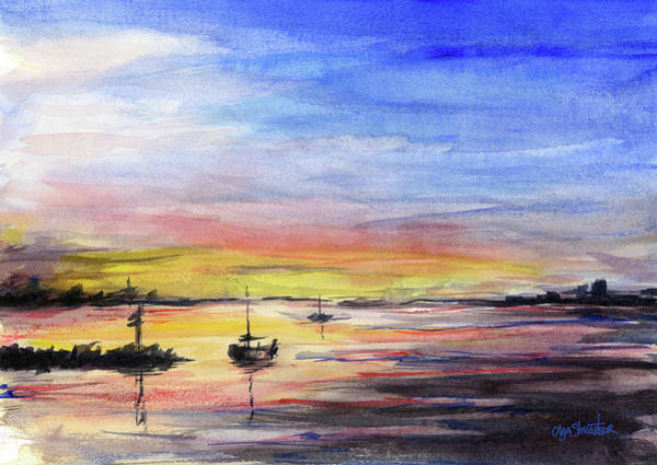 Wall Art - Painting - Sunset Watercolor Downtown Kirkland by Olga Shvartsur