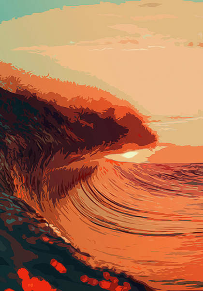 Painting - Sunset Waves by Andrea Mazzocchetti