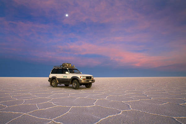 Photograph - Lake Uyuni Sunset With Car by Aivar Mikko