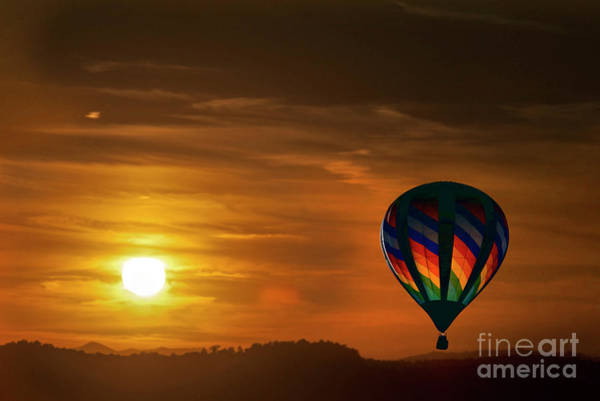 Photograph - Sunset With Hot Air Balloon In Sky by Dan Friend