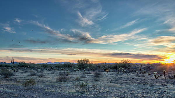 Photograph - Sunset With Hot Air Balloons In The Distance Outside Phoenix by Belinda Greb