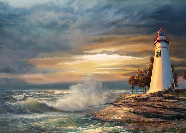 Gina Femrite Wall Art - Painting - Sunset With Ohio Marble Head Lighthouse by Regina Femrite