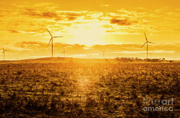 Generate Wall Art - Photograph - Sunsets And Golden Turbines by Jorgo Photography - Wall Art Gallery