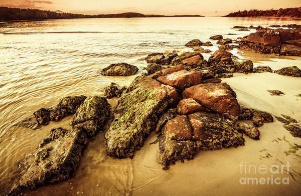 Tasman Sea Photograph - Sunsets And Sea Stones by Jorgo Photography - Wall Art Gallery