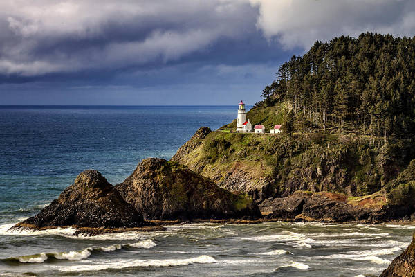 Promontory Point Photograph - Sunshine After The Storm At Heceta Head Lighthouse by Teri Virbickis