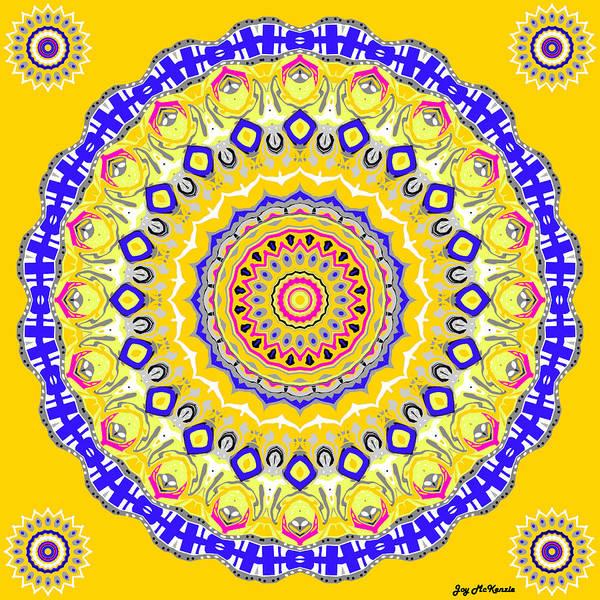 Psychedelia Digital Art - Sunshine And Blue Skies Mandala by Joy McKenzie