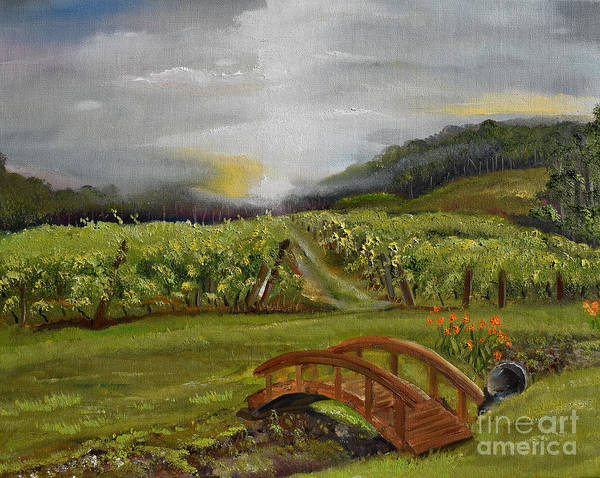 Painting - Sunshine Bridge At The Cartecay Vineyard - Ellijay Ga - Vintner's Choice by Jan Dappen