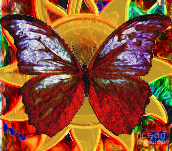 Wall Art - Digital Art - Sunshine Butterfly by Free Spirit