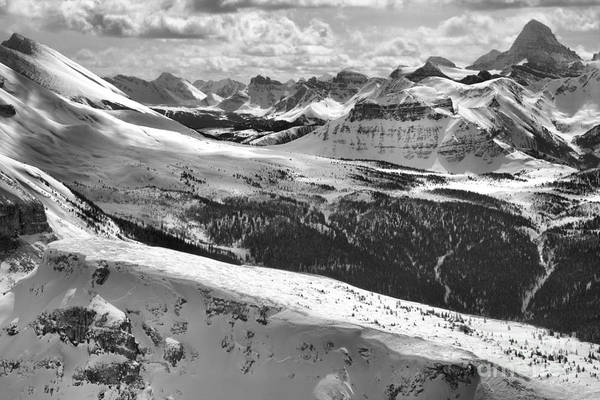 Photograph - Sunshine Village Canadian Rocky Mountain Views Black And White by Adam Jewell