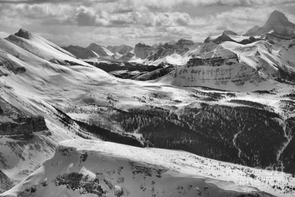 Photograph - Sunshine Village Mountain Views Black And White by Adam Jewell
