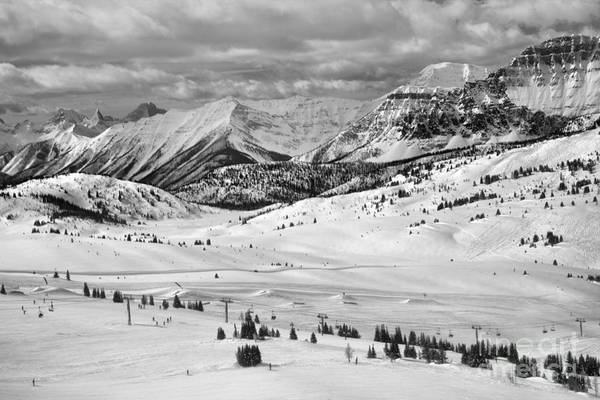 Photograph - Sunshine Village Resort Rocky Mountain Views Black And White by Adam Jewell