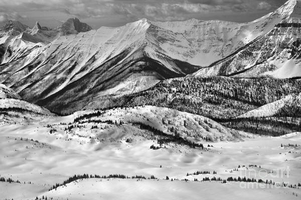 Photograph - Sunshine Village Snowy Peaks And Ridges Black And White by Adam Jewell