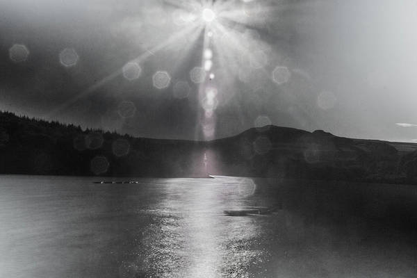 Photograph - Sunspots Over Ladybower Black And White by Scott Lyons