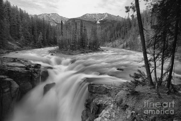 Photograph - Sunwapta Falls Sprig Gusher Black And White by Adam Jewell
