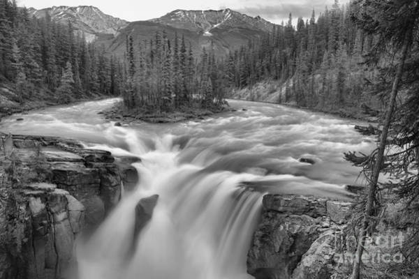 Photograph - Sunwapta Falls Spring Flow Black And White by Adam Jewell