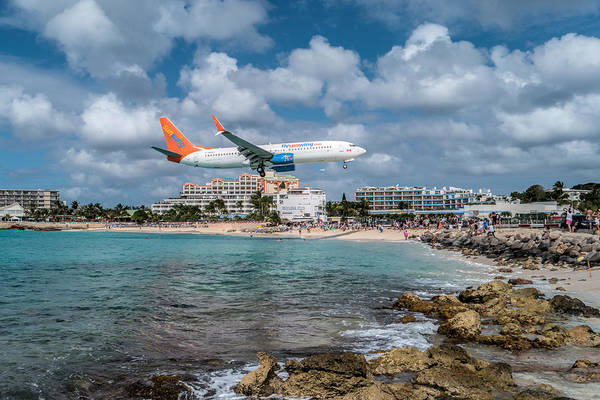 Wall Art - Photograph - Sunwing Airlines Arriving At St. Maarten Airport. by David Gleeson