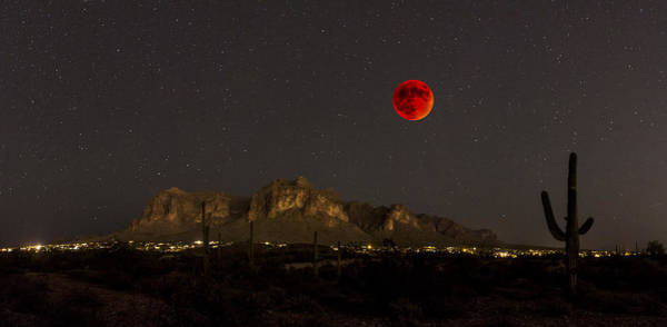 Foothills Wall Art - Photograph - Super Bloodmoon Over The Superstition Mountains by Chuck Brown