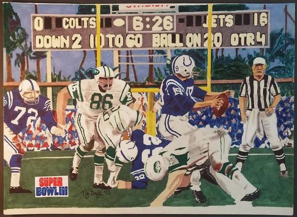 Super Bowl Drawing - Jets - Colts Super Bowl 3 by TJ Doyle