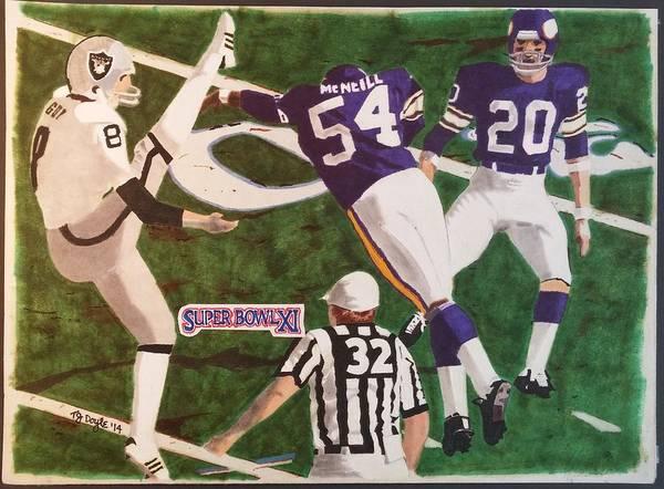 Super Bowl Drawing - Raiders - Vikings Super Bowl Xl by TJ Doyle