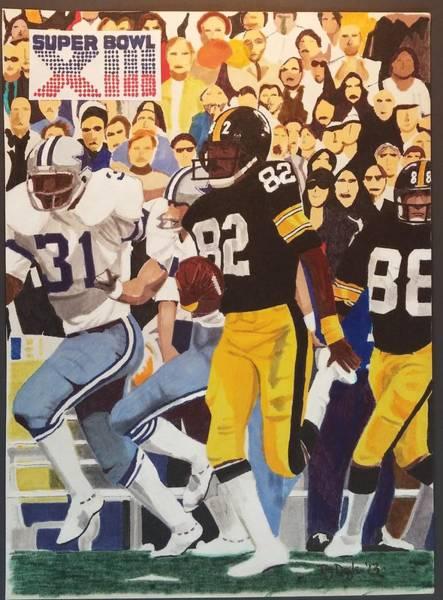 Super Bowl Drawing - Steelers - Cowboys Super Bowl Xlll by TJ Doyle