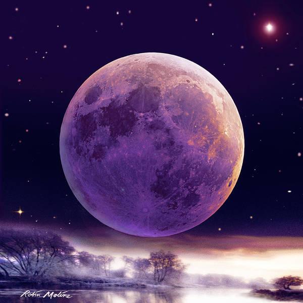 Digital Art - Super Cold Moon Over December by Robin Moline