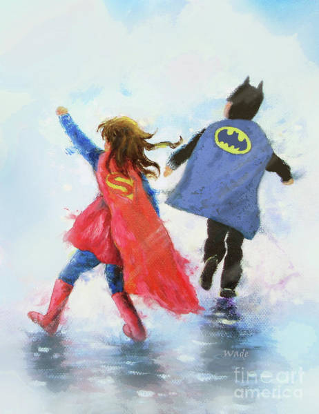 Wall Art - Painting - Super Hero Boy Blue And Girl				 by Vickie Wade