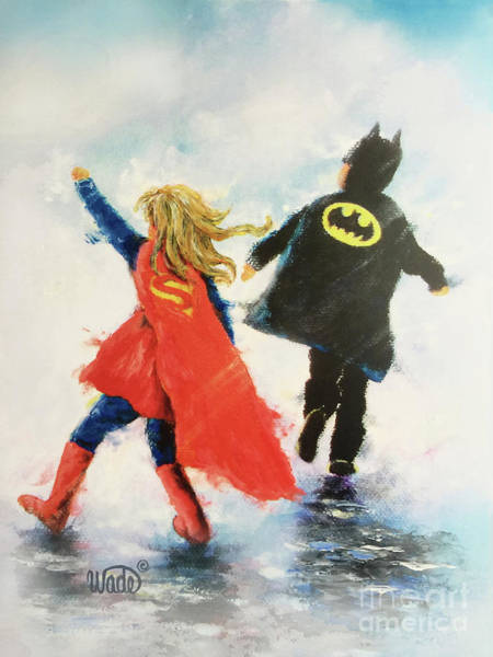 Wall Art - Painting - Super Hero Girl And Boy by Vickie Wade