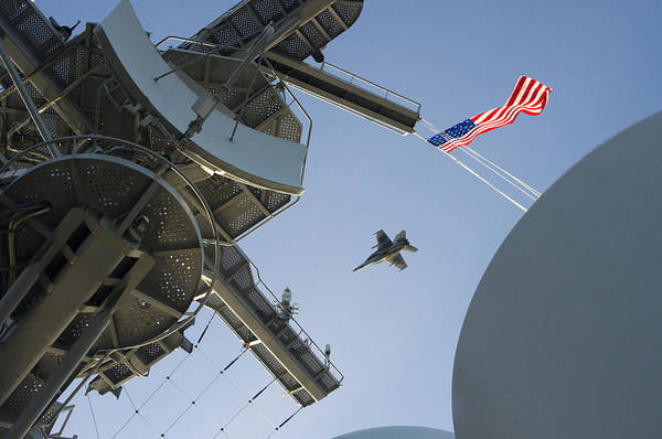 Uss Hornet Painting - Super Hornet Passes Over Uss George Washington by Celestial Images