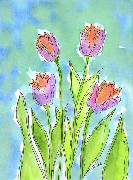 Painting - Four Garden Tulips by Susan Campbell