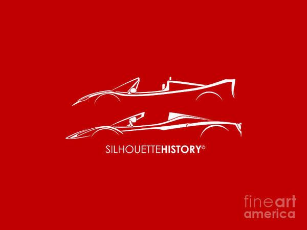 Supercars Digital Art - Super Macchina Aperta Silhouettehistory by Gabor Vida