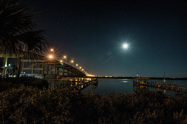 Photograph - Super Moon And Bridge Lights by Dorothy Cunningham