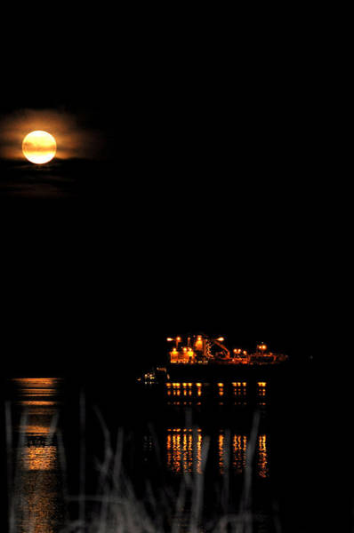 Ediz Hook Wall Art - Photograph - Super Moon And Freighter by Lynn Bawden