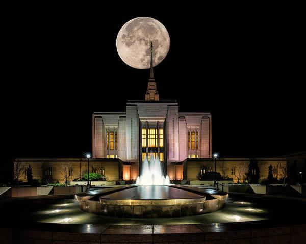 Photograph - Super Moon At Ogden Lds Temple by Michael Ash
