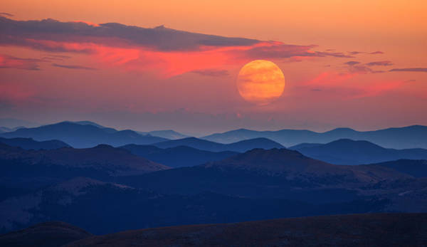 White Moon Photograph - Super Moon At Sunrise by Darren White