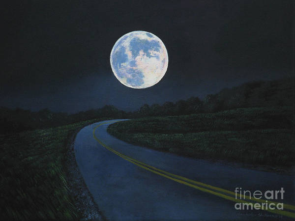 Painting - Super Moon At The End Of The Road by Christopher Shellhammer