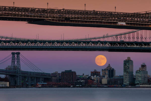 Photograph - Super Moon Over Manhattan New York City Nyc Bridges by Susan Candelario