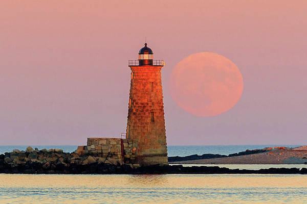 Photograph - Super Moon Rise At Whaleback Lighthouse by John Vose