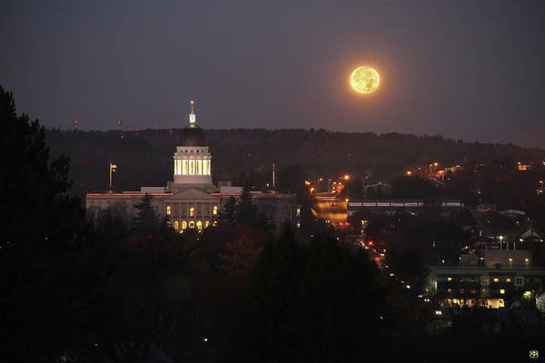 Photograph - Super Moon Setting by John Meader