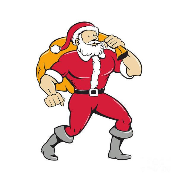 Yule Digital Art - Super Santa Claus Carrying Sack Isolated Cartoon by Aloysius Patrimonio