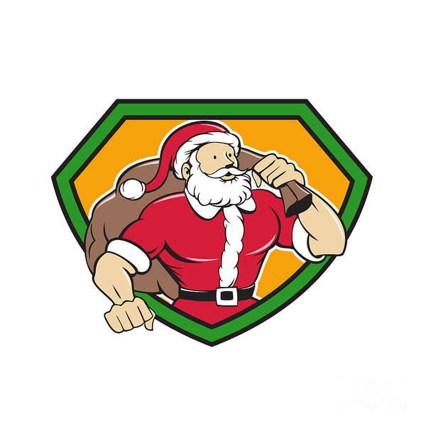Yule Digital Art - Super Santa Claus Carrying Sack Shield Cartoon by Aloysius Patrimonio