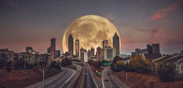 Hotlanta Photograph - Super Super Moon Atlanta by Megalo Photography